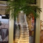 ice sculpture vase palm tree
